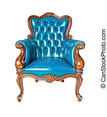bleu, cuir, luxe, fauteuil