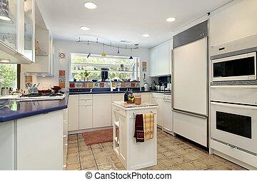 bleu, cuisine, countertops