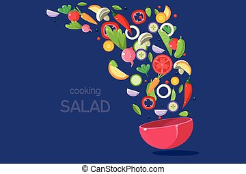 bleu, cuisine, fond, légumes, voler, illustration, bol, vecteur, salade, prêt, frais, repas