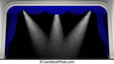 bleu, curtains., render, 3d