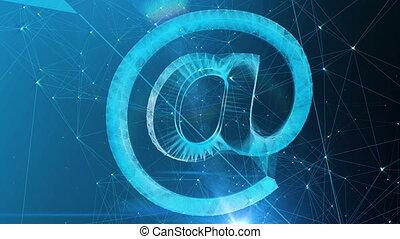 bleu, cyberespace, symbole, splendide
