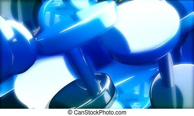 bleu, cylindre, en mouvement