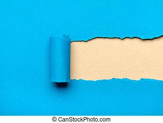 bleu, déchiré, espace, papier, laiteux, message