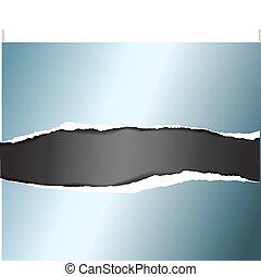 bleu, déchiré, vecteur, métal, papier