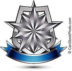 bleu, décoré, vecteur, étoile, bouclier, blazon, placé, héraldique, royal, isolé, argent, polygonal, arrière-plan., raie, ondulé, sécurité, gabarit, blanc, géométrique, 3d
