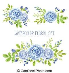 bleu, décor, ensemble, bouquet, aquarelle, fleurs
