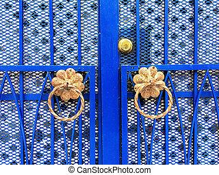 bleu, décoratif, détails, porte fer