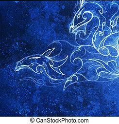 bleu, décoratif, hiver, structure., effect., collage, dragon., informatique, dessin, couleur