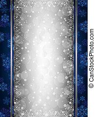 bleu, décoratif, noël, fond, frontières, flocon de neige