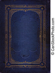 bleu, décoratif, vieux, or, cuir, cadre, texture