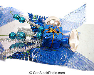 bleu, décoration noël, boîte, à, handbell, et, balles