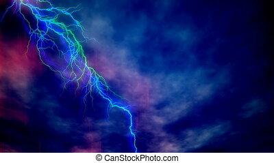 bleu, défaillance, ciel, orageux, temps