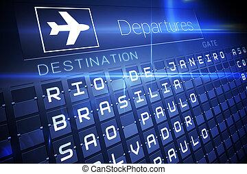 bleu, départs, planche, pour, amérique sud