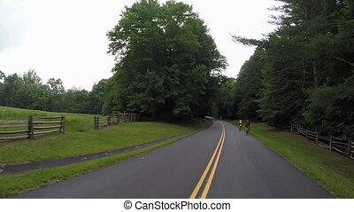 bleu, dépassement, arête, route express, cyclistes
