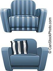bleu, dépouillé, doux, fauteuil