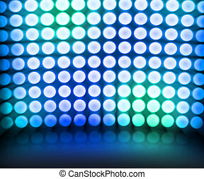 bleu, danse, disco allume, fond, étape