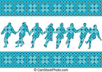 bleu, danseurs, traditionnel, silhouettes, fond, ethnique