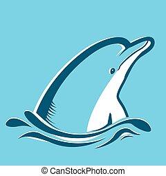 bleu, dauphin, sea.