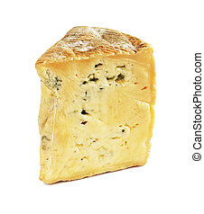 Bleu d'auvergne blue cheese isolated on white background