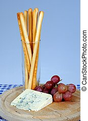 Bleu d'Auvergne cheese/ - Bleu d'Auvergne cheese, Grissini ...