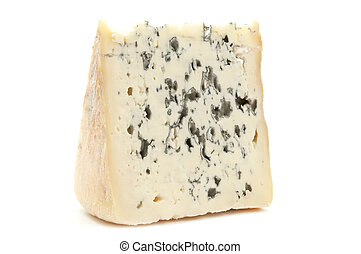 Bleu d'Auvergne cheese on a white background