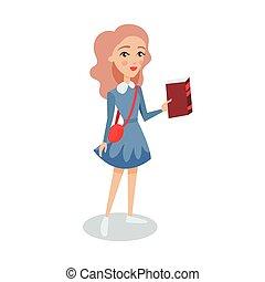 bleu, debout, étudiant, elle, caractère, illustration, main, vecteur, joli, tenue, girl, robe, livre, dessin animé