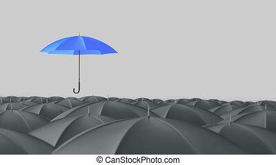 bleu, debout, concept, parapluie, foule, masse, dehors