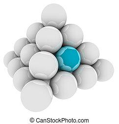 bleu, debout, différent, balle, pyramide, unique, spécial, dehors