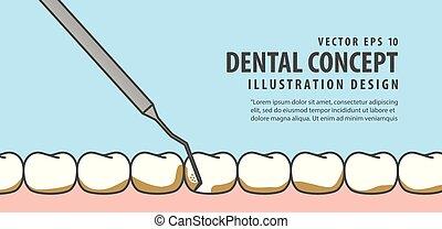 bleu, dentaire, illustration, escalade, arrière-plan., vecteur, dents, bannière, concept.
