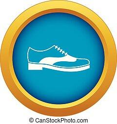 bleu, dentelle, hommes, isolé, vecteur, chaussure, icône