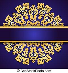 bleu, dentelle, or, ornement, invitation, rond