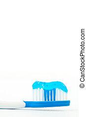 bleu, dentifrice, brosse dents