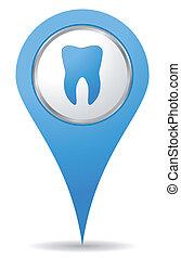 bleu, dentiste, emplacement, icône