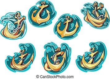 bleu, dessin animé, ancres, mer, vagues