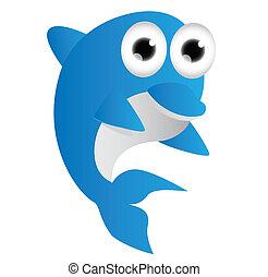 bleu, dessin animé, dauphin
