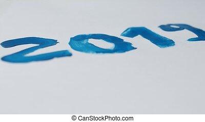bleu, dessine, hiver, 2019, 2109, peinture, année, date, nouveau, blanc, gros plan, noël, feuille, homme