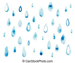 bleu, dessiner, art, goutte, pluie, main, peinture aquarelle...