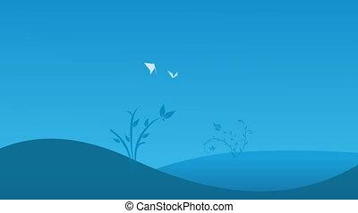 bleu, deux, champ, papillons, fond, blanc