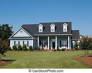 bleu, deux histoire, résidentiel, maison