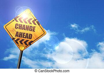 bleu, devant, ciel, signe jaune, route, blanc, clouds:, changement