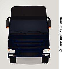 bleu, devant, truck., vue