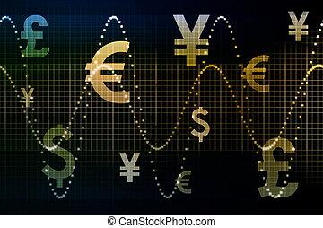 bleu, devises, or, business, résumé, fond, mondiale