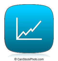 bleu, diagramme, icône