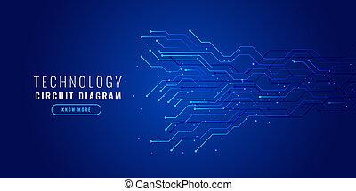 bleu, diagramme, technologie, circuit, fond