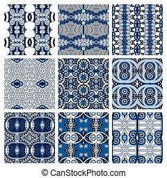 bleu, différent, ensemble, coloré, vendange, seamless, modèle, géométrique