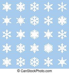 bleu, différent, ensemble, flocons neige, blanc, hiver