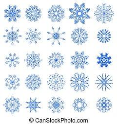 bleu, différent, ensemble, flocons neige