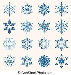 bleu, différent, ensemble, flocons neige, snowflakes., shapes., collection, illustration, seize, hiver