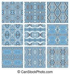 bleu, différent, ensemble, modèle, couleur, seamless, géométrique