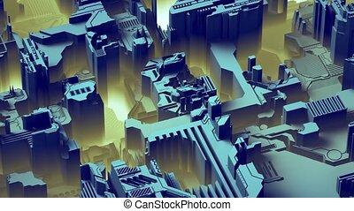 bleu, différent, fait, fond, éclats (flares), résumé, planche, élément, rendre, circuit imprimé, technologique, color., 3d